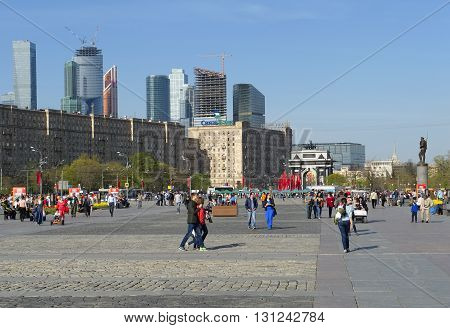 MOSCOW, RUSSIA - MAY 8, 2015: City landscape. Victory Park Poklonnaya Gora view of Kutuzovsky Prospect and Triumphal Arch