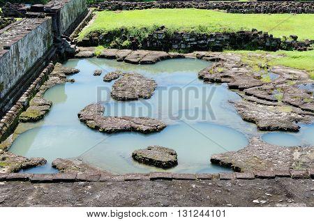 the pond inside ratu boko palace complex