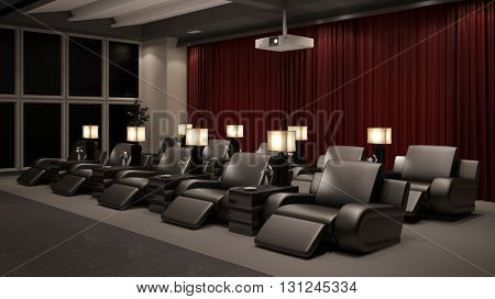 Private home cinema with many chairs and a beamer (3D Rendering)
