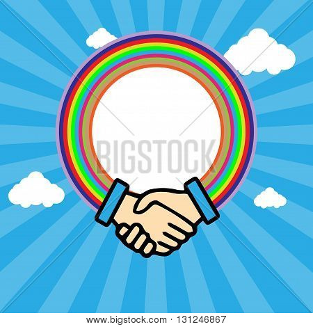 Shaking hands in outline with rainbow circle over a blue sky background in lines with white clouds. Digital vector background