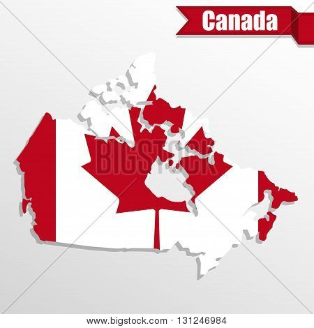 Canada map with Canada flag inside and ribbon