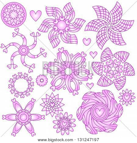 Pink and white ornament collection with hearts isolated over white background