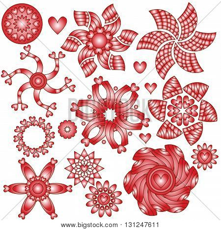 Red and white ornaments with hearts isolated over white background