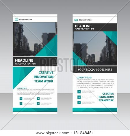 Green Business Roll Up Banner flat design template Abstract Geometric banner Vector illustration set