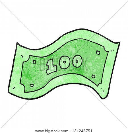 freehand textured cartoon 100 dollar bill