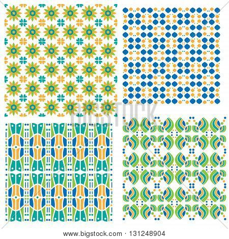 Colorful modern tiling textures collection isolated over white background