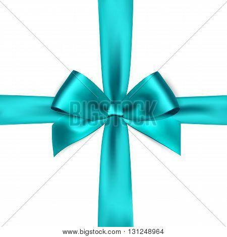 Shiny blue satin ribbon on white background. blue bow. Blue bow and blue ribbon