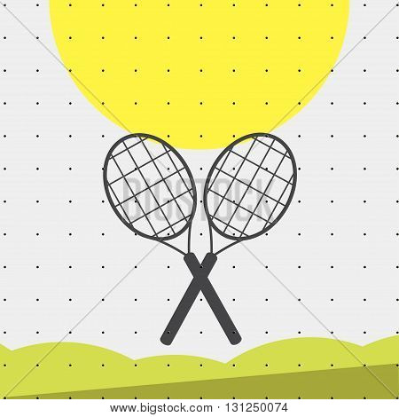 Colorful sports poster-style minimalism flat for commercial websites. Attributes for tennis and badminton rackets. Vector illustration