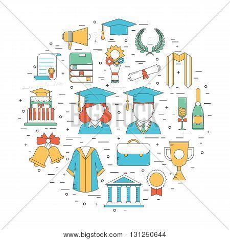 Graduation Thin Line Vector Icons
