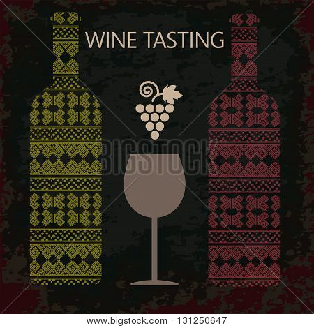 Wine tasting card two bottles of white and red wine a glass and grape sign over dark background. Digital vector image.