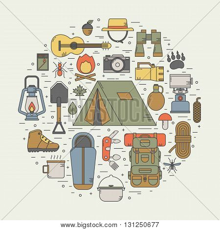 Camping Line Art Vector Icons