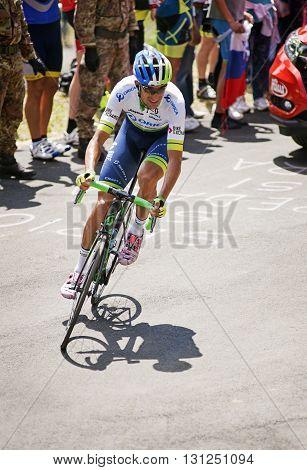 MONTEMAGGIORE Italy - may 20. 2016: PLAZA MOLINA Ruben - Orica GREENedge during Giro di Italia 2016 13st stage 170km