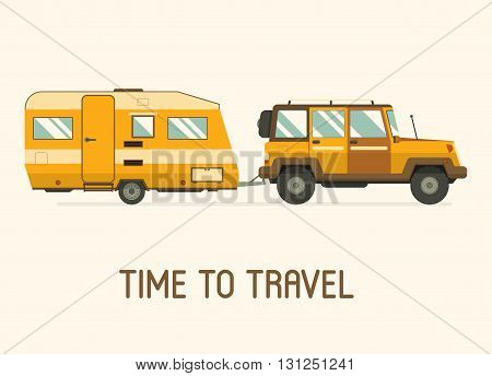 Road travel trailer and SUV driving. Family traveler truck summer trip concept. RV with hind carriage isolated.