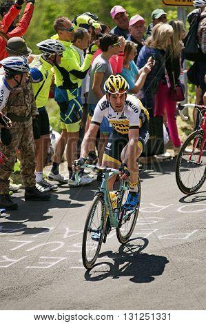 MONTEMAGGIORE Italy - may 20. 2016: TJALLINGII Maarten - LOTTO NL - JUMBO during Giro di Italia 2016 13st stage 170km