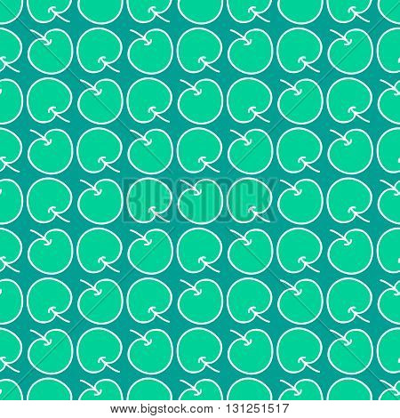 Seamless summer background. Hand drawn pattern. Suitable for fabric, greeting card, advertisement, wrapping. Bright and colorful juicy green apples. Seamless harvest summer hand drawn pattern