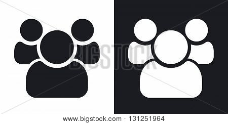 Vector users group icon. Two-tone version on black and white background