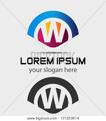 Letter W Logo Design.Creative Symbol of letter W
