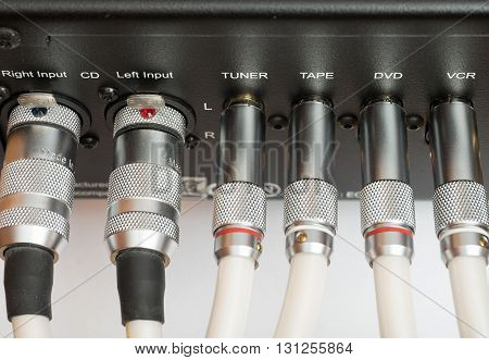 Sockets and plugs of the inputs and outputs on an black metal panel. It is part of the rear panel of the amplifier.