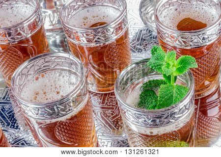 Moroccan Tea Glasses And Biscuit