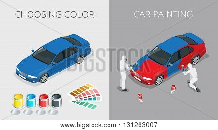 Auto mechanic Professional painting car in a paint chamber during repair work. Choosing color for painting car. Flat 3d vector isometric illustration.