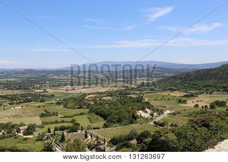 This is view of the Luberon valley in the Provence landings.