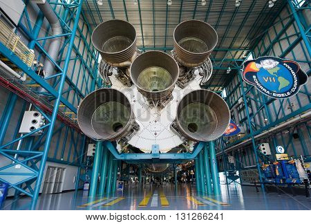 KENNEDY SPACE CENTER FLORIDA USA - APRIL 27 2016: The Saturn 5 rocket which is exhibited at the visitor complex of Kennedy Space Center