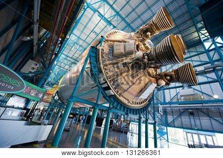KENNEDY SPACE CENTER FLORIDA USA - APRIL 27 2016: The engines of the second stage of the Saturn 5 rocket which is exhibited at the visitor complex of Kennedy Space Center