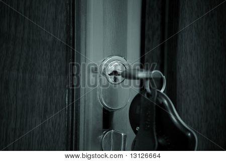 Estate background: door, key, home