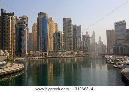 view on Marina district in Dubai at morning