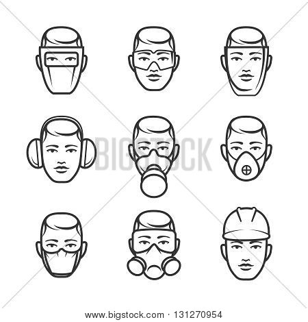 Occupational safety. Safety glasses and a dust mask, hard hat and headphones for safe work. Vector illustration