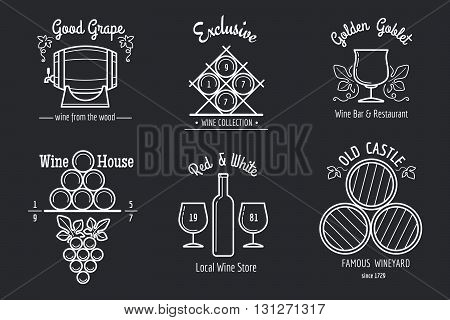 Wine line logo set. Winemaking or winery thin line signs for wine bar or wine restaurant menu. Vector illustration