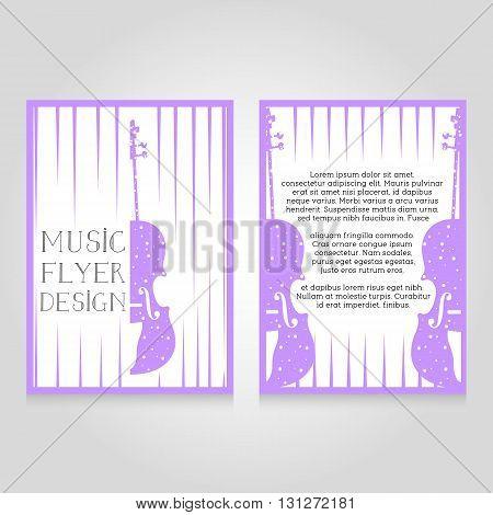 Music festival brochure flier design template. Vector concert poster illustration. Leaflet cover layout in A4 size.