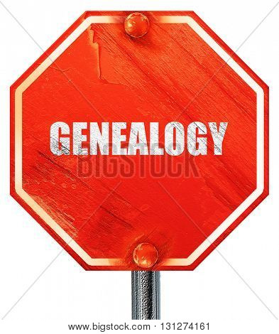 genealogy, 3D rendering, a red stop sign