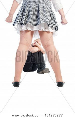 Bullying girl isolated on a white background