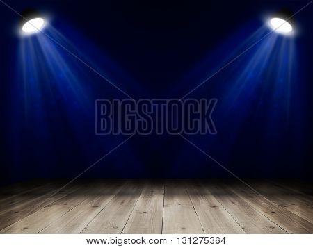Background in show. Interior with wooden floor shined with projector