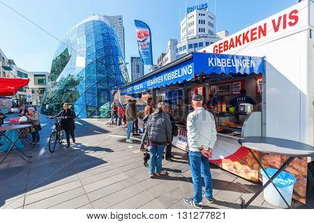 Eindhoven Netherlands - April 12 2016: city scene in Eindhoven with unidentified people. With about 225000 inhabitants its the 5th-largest municipality of Netherlands and largest of North Brabant