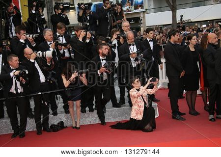 Photographers  attend the Closing Ceremony of the 69th annual Cannes Film Festival at the Palais des Festivals on May 22, 2016 in Cannes, France.