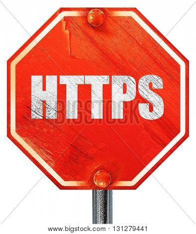 https, 3D rendering, a red stop sign