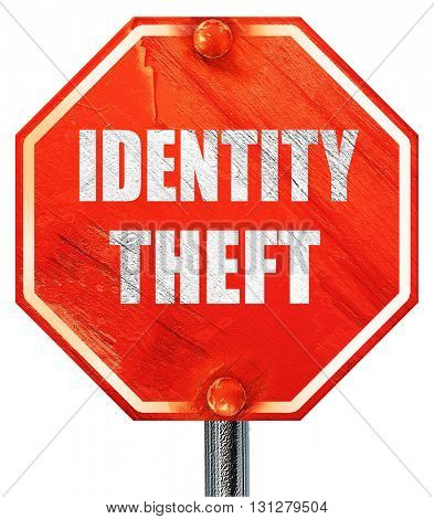 Identity theft fraud background, 3D rendering, a red stop sign