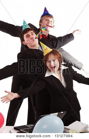 Group of business people celebrating smth in office. Shot in studio.