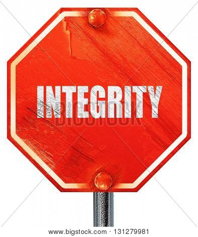 integrity, 3D rendering, a red stop sign