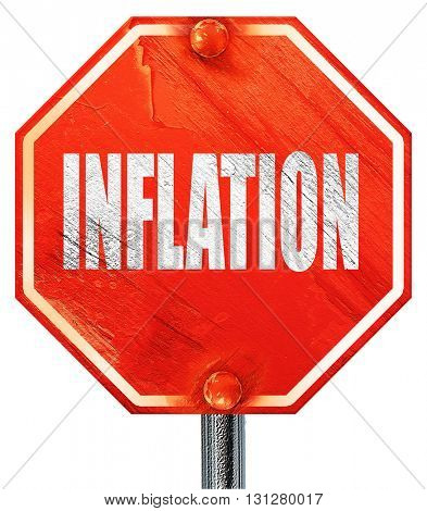 Inflation sign background, 3D rendering, a red stop sign