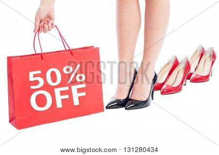 50 Off Or Fifty Percent Sale Discount For Woman Shoes