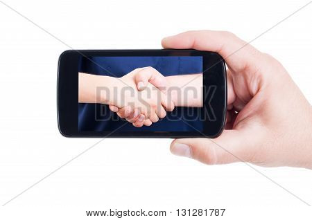 Medical Handshake Picture On Cellphone Screen