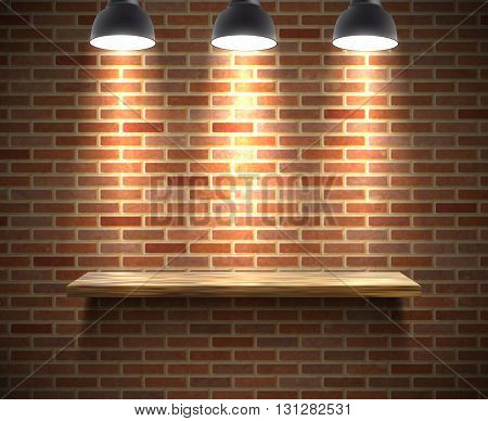Realistic wooden empty shelf illustration on a brick wall under the spotlight with shadow vector illustration
