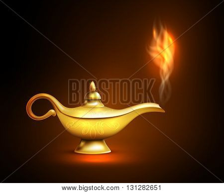 Realistic aladdin lamp smoke icon yellow iron placed on the surface and casts a shadow vector illustration