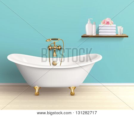 Bathroom interior poster or promo flyer bathtub in the house with blue walls shelf with bath accessories vector illustration poster