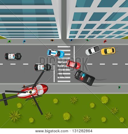 Police Chase Top View Background. Police Chase Vector Illustration. Police Chase Cartoon Design. Police Chase Decorative Symbols.