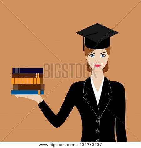 Graduate in black suit and cap with books