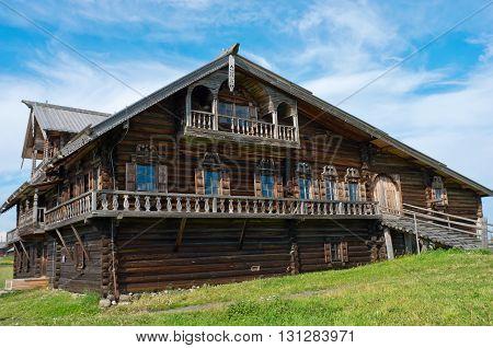 Traditional Russian house on the island Kizhi. Karelia Russia